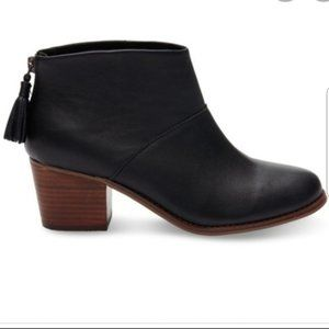 TOMS Black Leila Leather Block Heel Ankle Boots